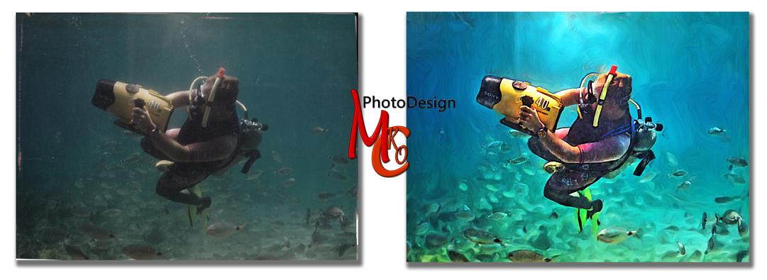 Diving In Zakynthos Digital Artwork